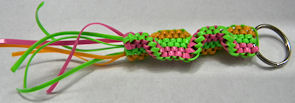 pink-green-yellow key ring